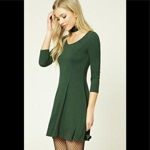 Forever 21 Stretch-Knit Skater Dress in Olive